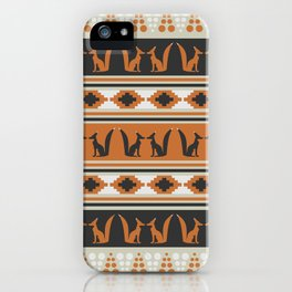Foxes and ethnic shapes iPhone Case