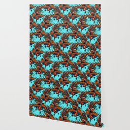 rooster ink turquoise Wallpaper