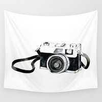 vintage camera Wall Tapestries featuring Vintage camera  by Bridget Davidson