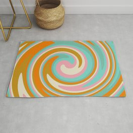 Swirl 70s retro abstract Rug