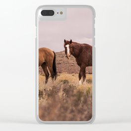 HORSES - BROWN - GRASS Clear iPhone Case