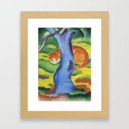 """Franz Marc """"Children's Picture: Cat behind a Tree (Kinderbild: Katze hinter einem Baum)"""" Framed Art Print"""