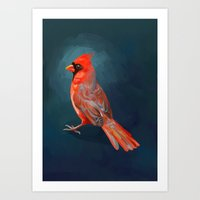 cardinal Art Prints featuring Cardinal by Freeminds