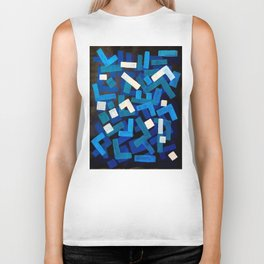 "Original Abstract Acrylic Painting by Ejaaz Haniff ""Blue Jazz"" Blue Geometric Colorful Pattern On Bl Biker Tank"