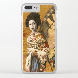 Vintage Geisha Butterfly Clear iPhone Case
