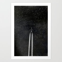 Star Flight - Airplane crossing a starry sky Art Print