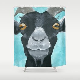 goat art.  'Willie from acrylic on canvas goat painting Shower Curtain