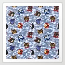 Pet Cat Blue Polka Dots Kitten Watercolor Art Print