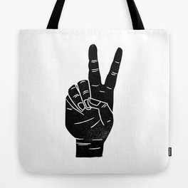 Linocut sign language peace sign hand black and white Tote Bag