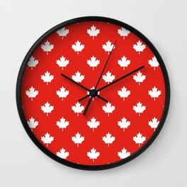 Large Reversed White Canadian Maple Leaf on Red Wall Clock