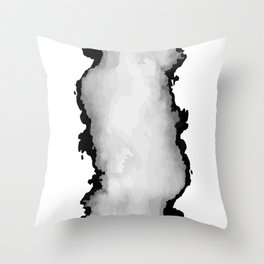 White Gray and Black Monochrome Graphic Cloud Effect Throw Pillow
