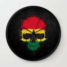 Flag of Ghana on a Chaotic Splatter Skull Wall Clock