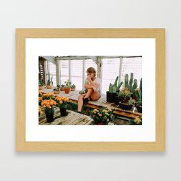 greenhouse girl Framed Art Print