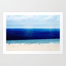 Navy Blue Beach Art Print