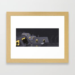 Animals in their houses at night Framed Art Print