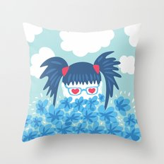 Geek Girl With Heart Shaped Eyes And Blue Flowers Throw Pillow