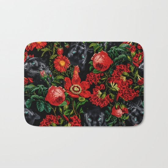 Panther and Floral Pattern XO Bath Mat