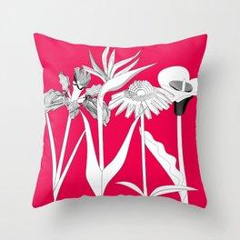 Spring Flowas Bring Girl Powas, Black and White Illustration Throw Pillow