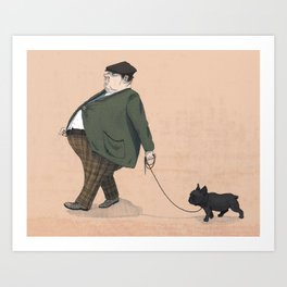 A Man with a Dog Art Print