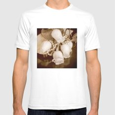 Pearl and roses MEDIUM Mens Fitted Tee White