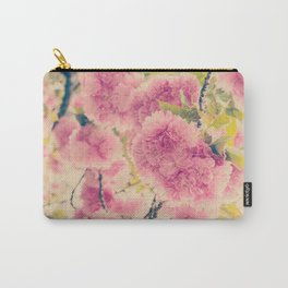Sweet Pink Pompom Blossoms of Yaezakura Cherry -- Spring Botanical in Vintage Tones Carry-All Pouch