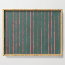 Modern Hand-painted Stripes in Bright Coral and Petroleum Green colors, Abstract Painting Serving Tray