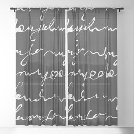 Doodles Letters Black Sheer Curtain
