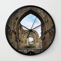 downton abbey Wall Clocks featuring Glastonbury Abbey by Artemio Studio