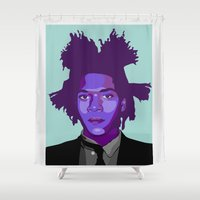basquiat Shower Curtains featuring Basquiat by Grace Teaney Art