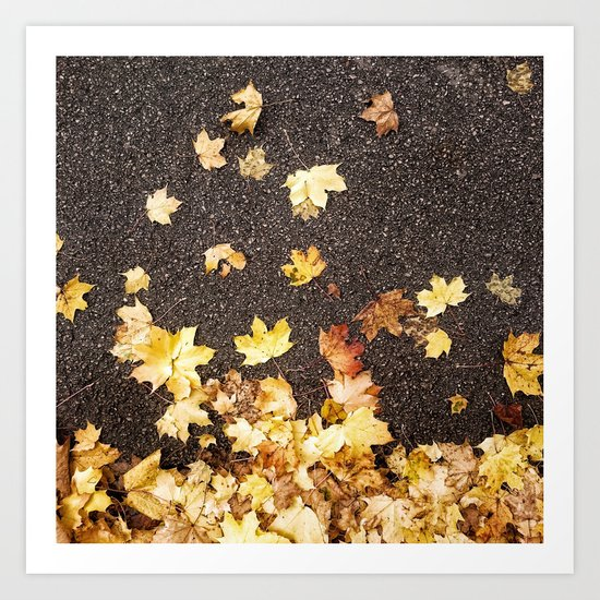 Gold yellow maple leaves autumn asphalt road Art Print