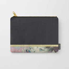 Black Marble in Gold Carry-All Pouch