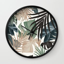 Tropical Jungle Leaves Pattern #13 (Fall Colors) #tropical #decor #art #society6 Wall Clock