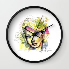 Abstract watercolor portrait Wall Clock