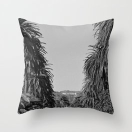 Hollywood Sign, Hancock Park Street view line by palm trees black and white photograph Throw Pillow