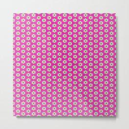 Hot Pink Plaid Mint Green Flower Metal Print