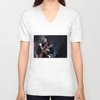 jack white V-neck T-shirts featuring Jack White Airline Satan by Christopher Chouinard