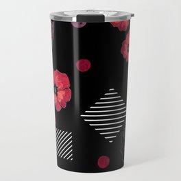 Watercolor . Red poppies .  Black . Travel Mug