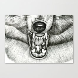 Pencil Drawing - Wolf Growl Canvas Print