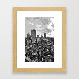 Sketched Boston Skyline Framed Art Print