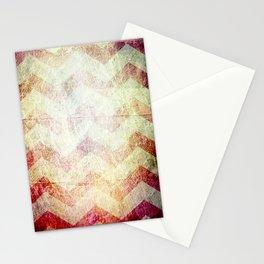 grunge chevron stripes red orange gold Stationery Cards