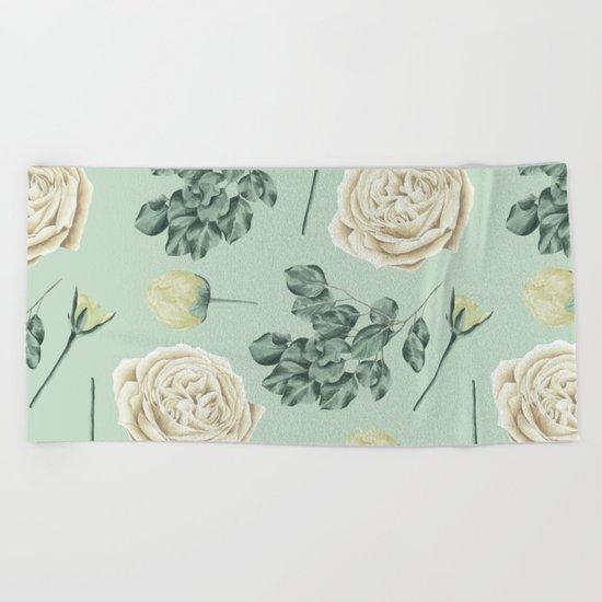 Rose Pattern Cream + Mint Green Beach Towel