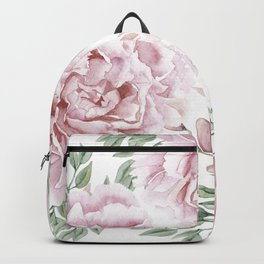 Coral Watercolor Roses Backpack