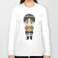 shingeki no kyojin Long Sleeve T-shirts featuring Shingeki no Kyojin - Chibi Eren Flats by Tenki Incorporated