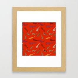 Koi carp. Brown orange yellow black outline on red background Framed Art Print
