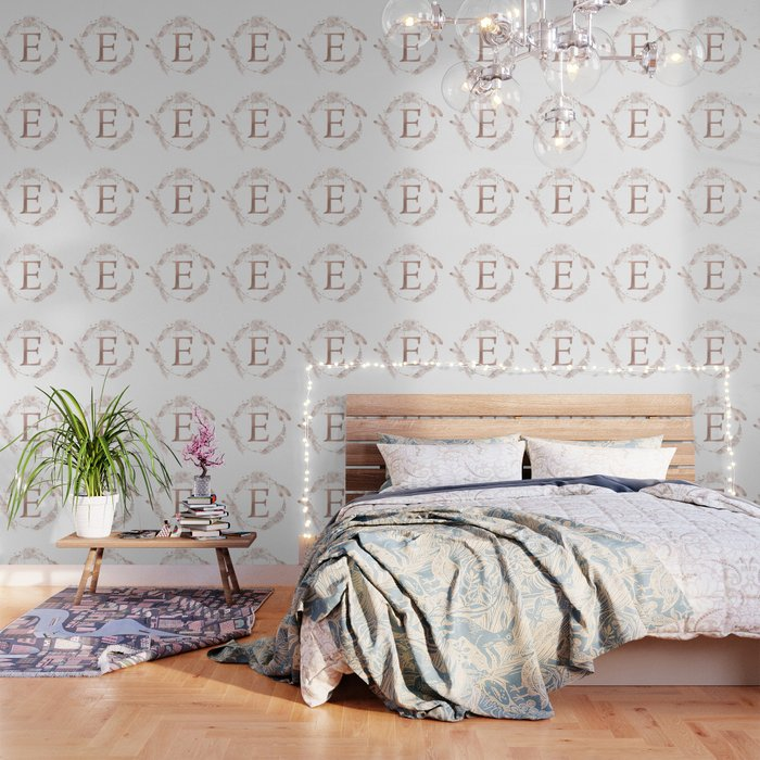 Letter E Rose Gold Pink Initial Monogram Wallpaper