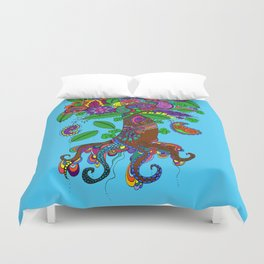 Psychedelic Paisley Tree - on Turquoise Background Duvet Cover