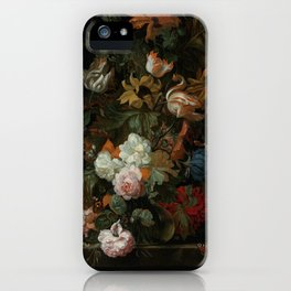 """Ernest Stuven """"Still life of flowers in a glass vase with a butterfly on a ledge"""" iPhone Case"""