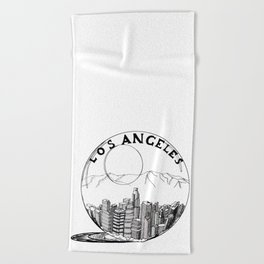 Los Angeles in a glass ball . Artwork Beach Towel