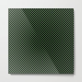 Black and Hippie Green Polka Dots Metal Print