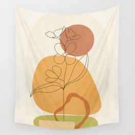 Minimal Abstract Flowers 03 Wall Tapestry
